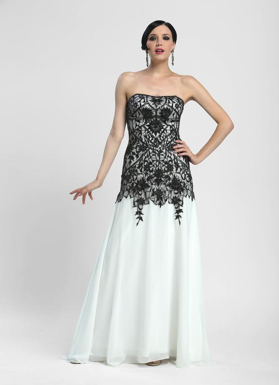 Sue Wong - N4134 Strapless Lace Overlay A-line Gown in White and Black