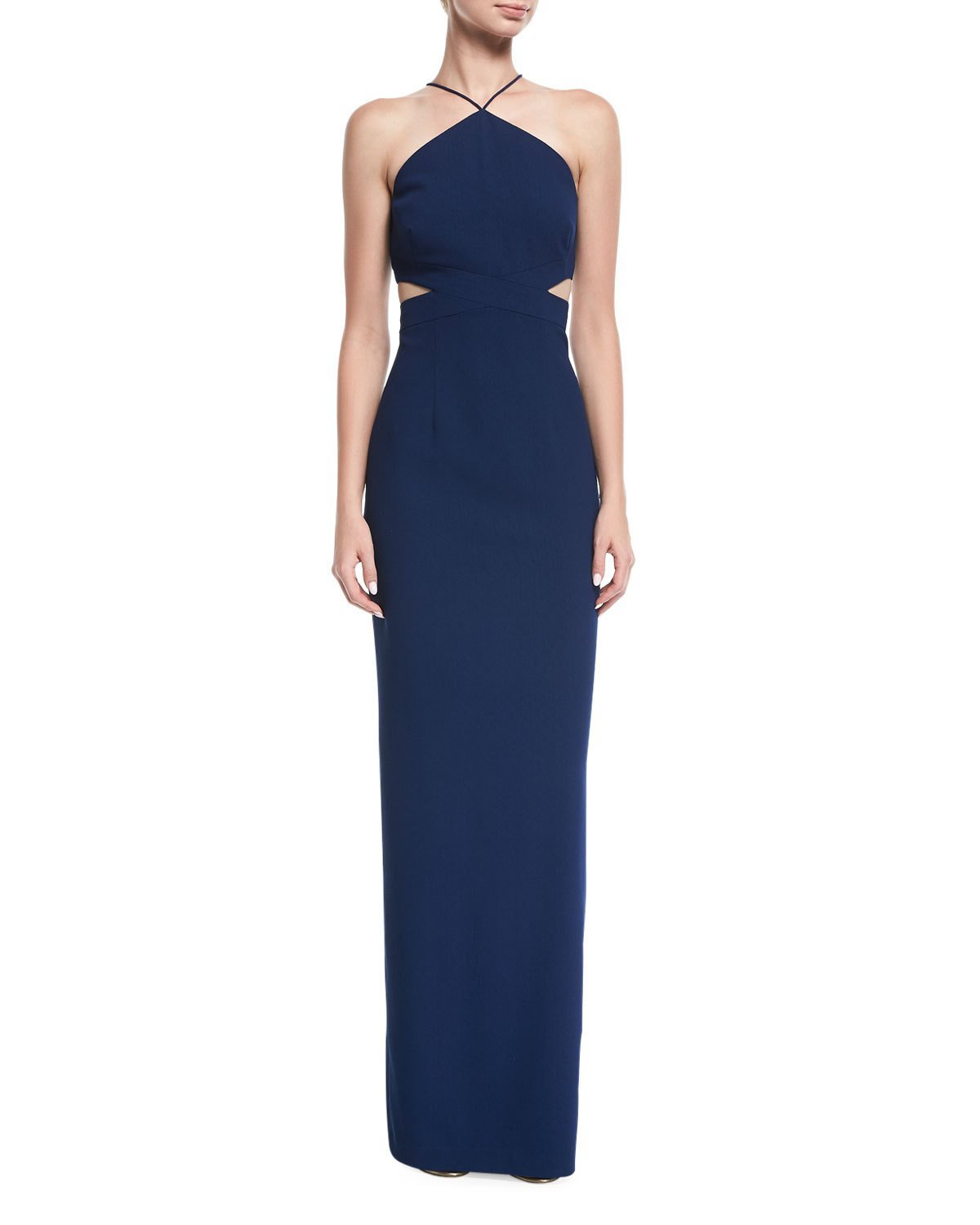 Aidan Mattox - MN1E202134 Halter Crepe Cutout Column Evening Gown in Blue