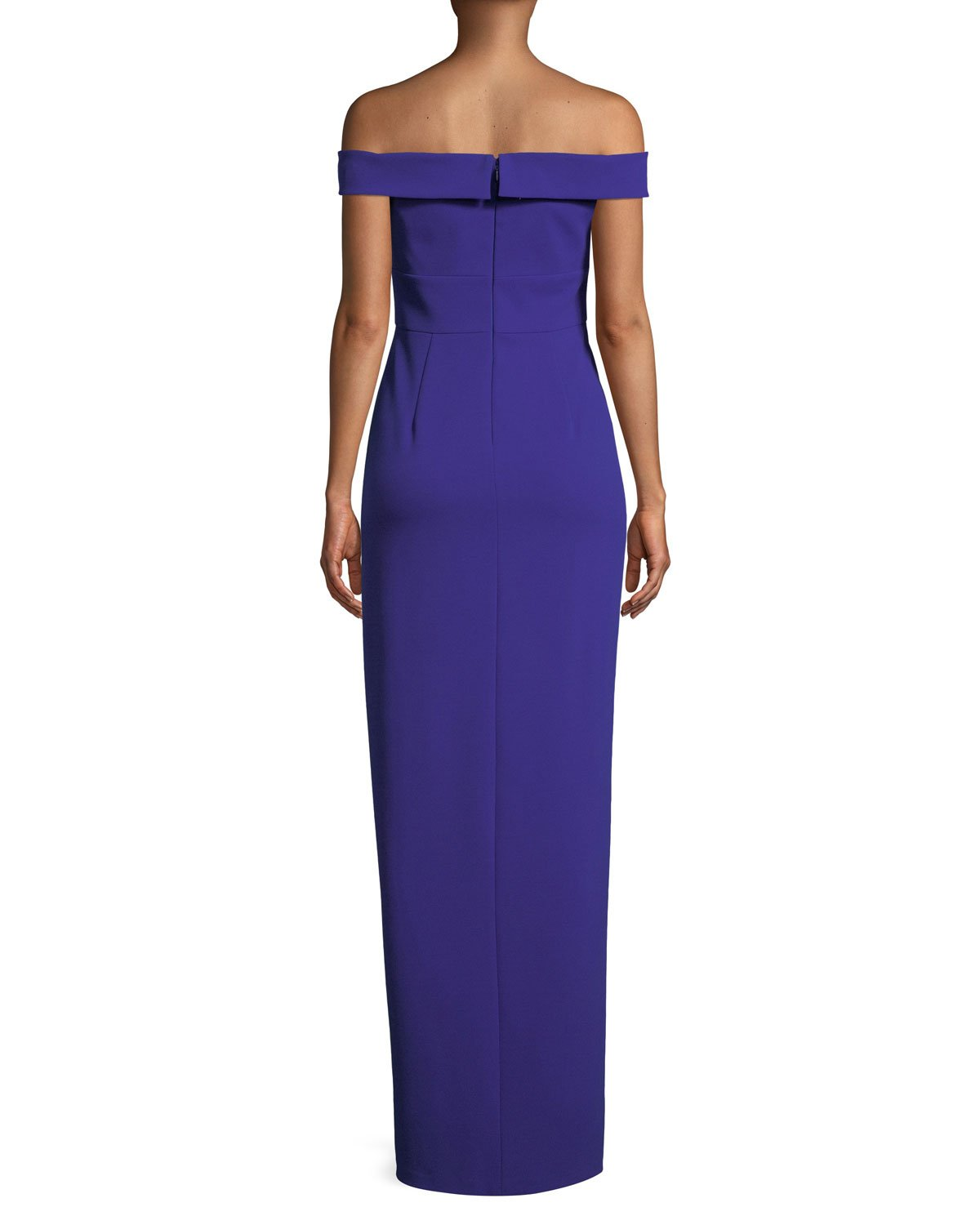 Aidan Mattox - MN1E202585 Off-Shoulder Scuba Crepe Long Sheath Dress In Purple