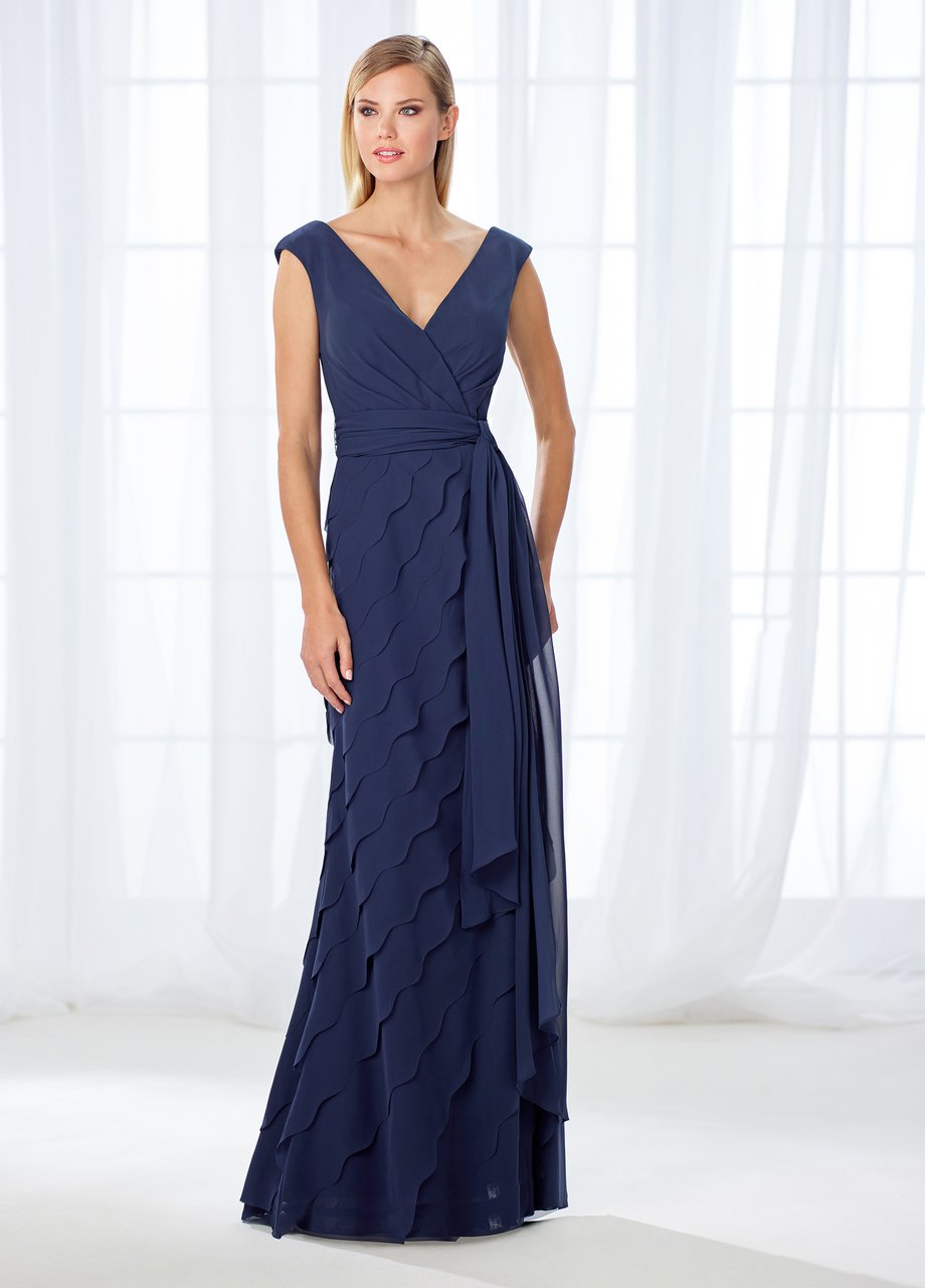 Cameron Blake - 118668 Cap Sleeve Wrap Tie Scalloped Evening Gown In Blue