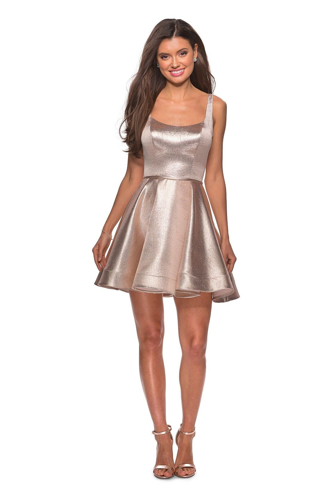 La Femme - Sleeveless Scoop Neck A-Line Metallic Cocktail Dress 28181SC In Pink and Gold