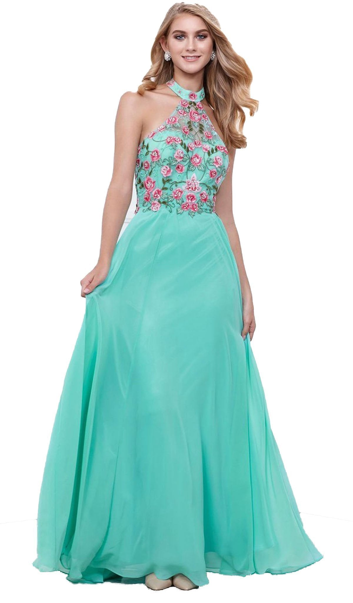 Nox Anabel - Floral Halter Style Long Evening Gown 8326SC