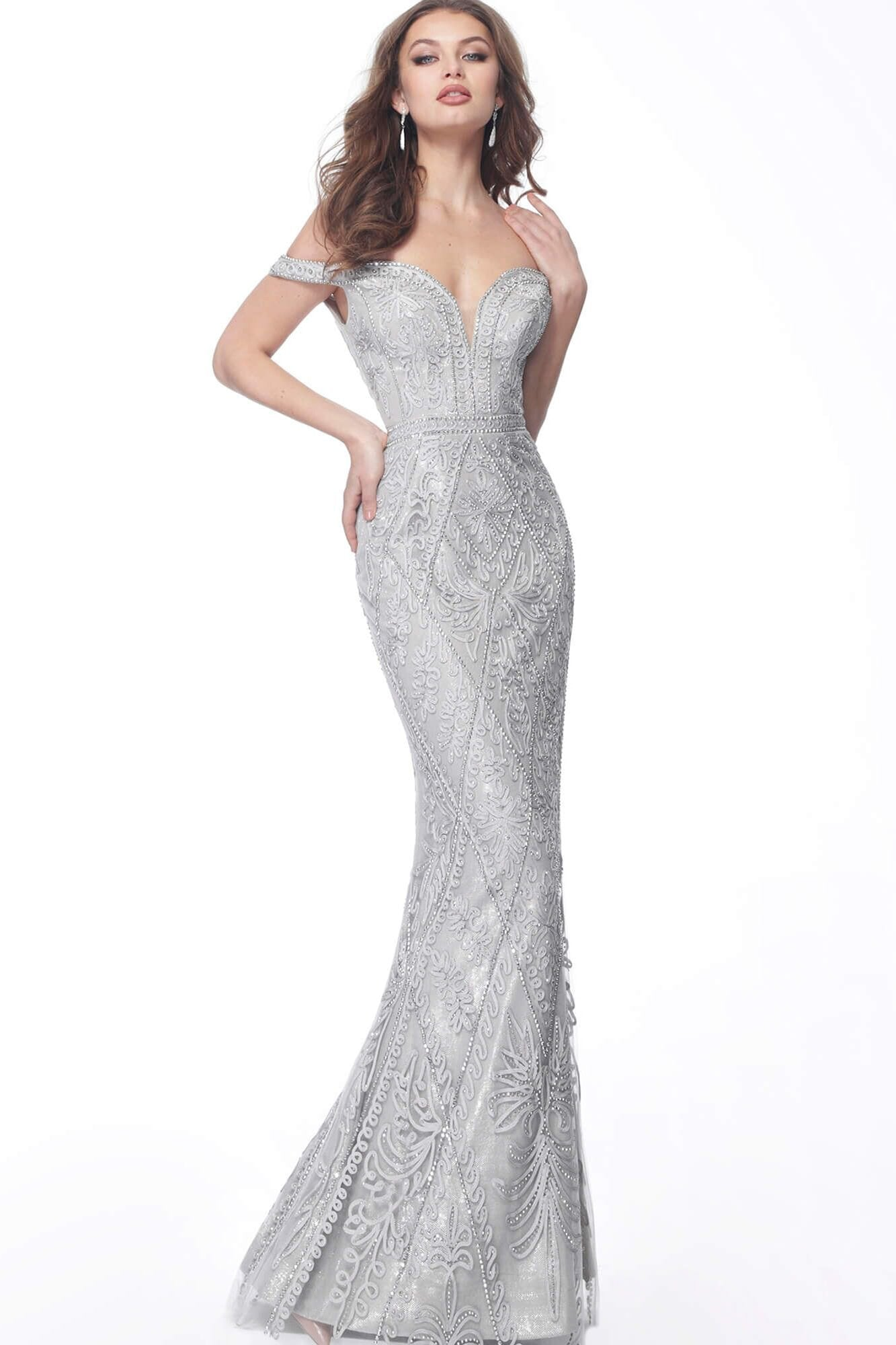Jovani - Embroidery-Ornate Deep Off-Shoulder Trumpet Dress 68130SC In Gray and Silver