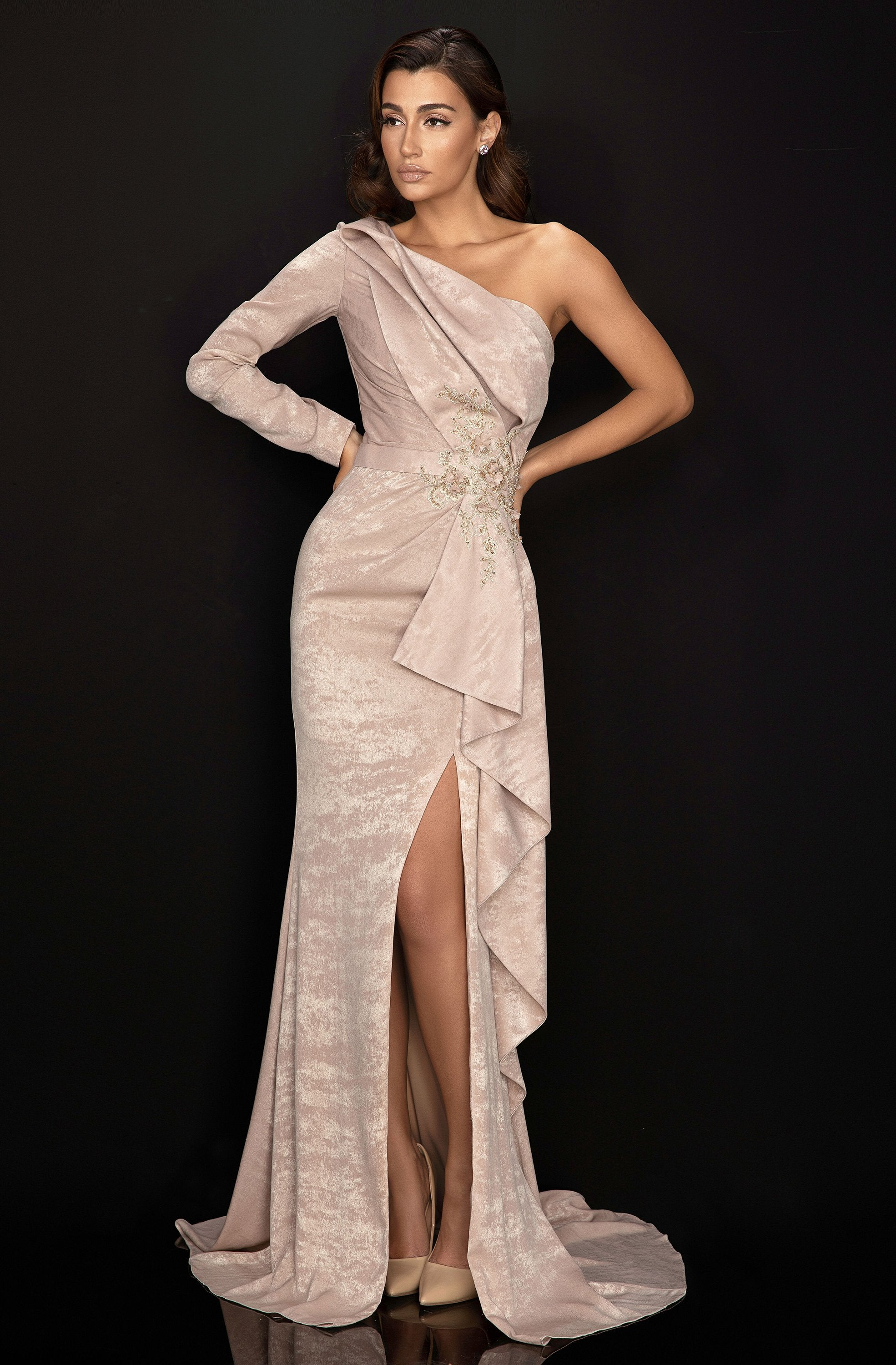 Terani Couture - 2011E2038 Pleated Mermaid Evening Dress with Slit In Brown
