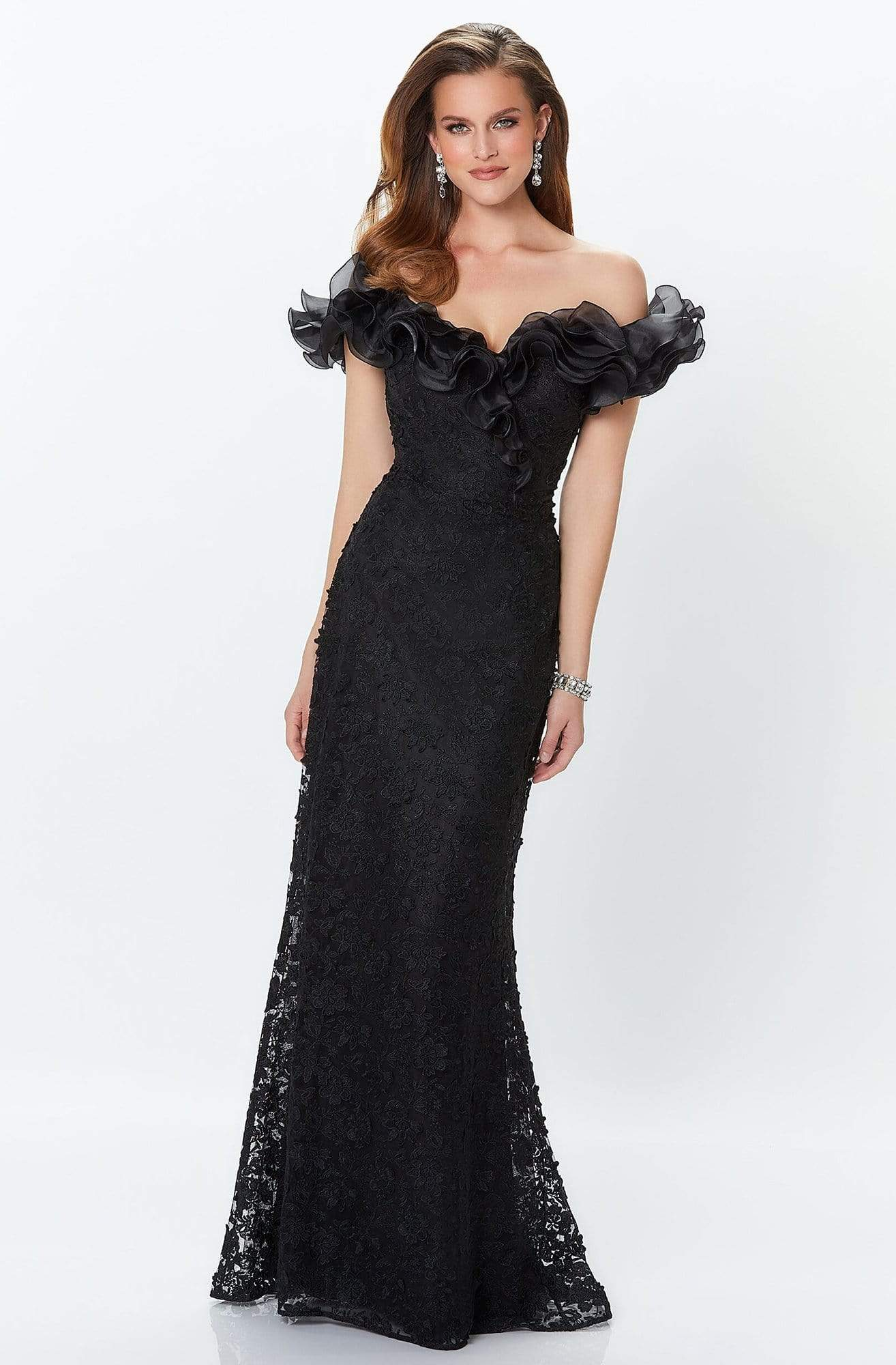 Montage by Mon Cheri - 119931 Ruffled Off-Shoulder Gown Mother of the Bride Dresses 0 / Black