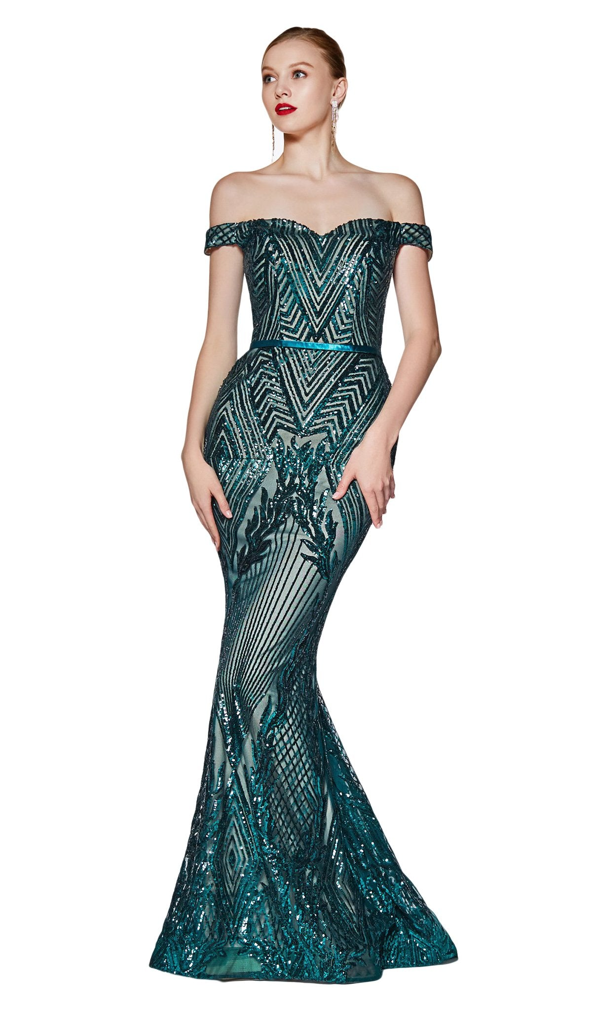 Cinderella Divine - CB0039 Sparkly Sequin Off-Shoulder Evening Gown In Green
