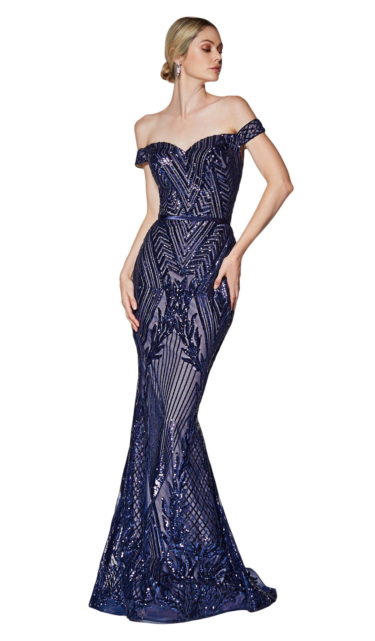 Cinderella Divine - CB0039 Sparkly Sequin Off-Shoulder Evening Gown In Blue