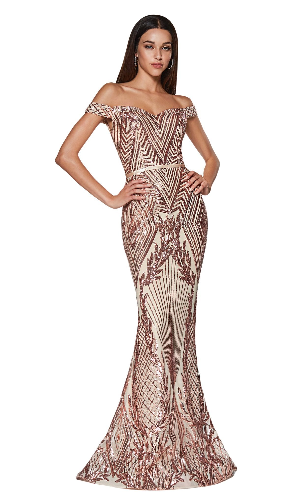 Cinderella Divine - CB0039 Sparkly Sequin Off-Shoulder Evening Gown In Pink and Gold