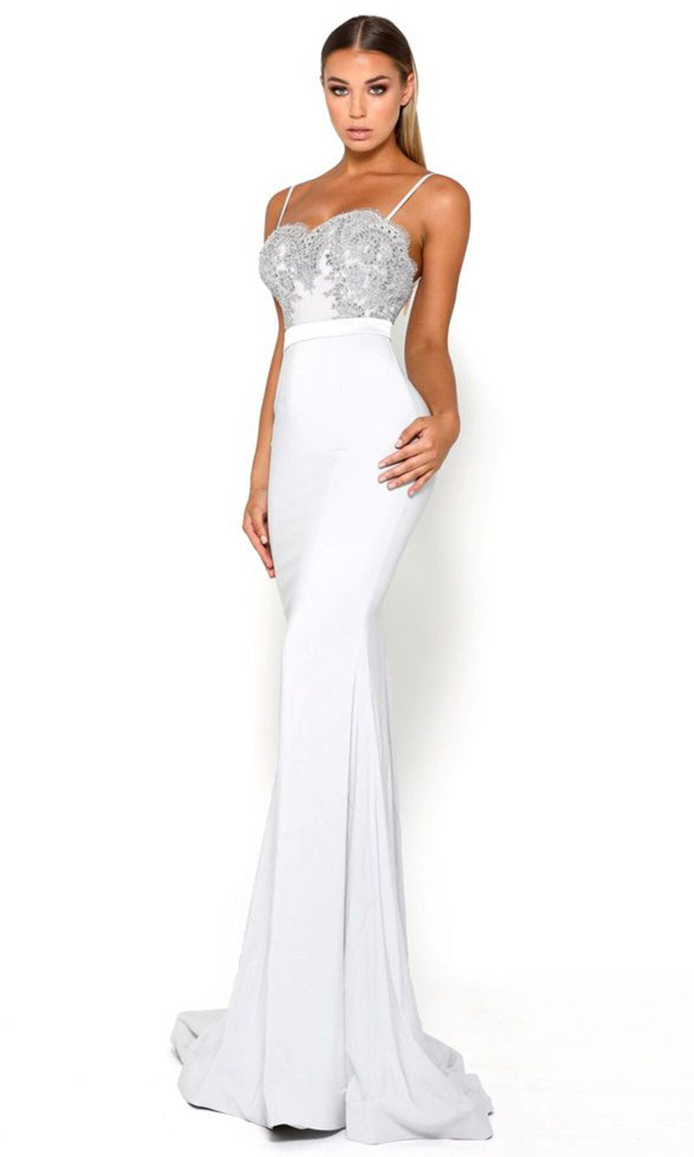 Portia and Scarlett - Lody Sienna With Lace Train 4 Embellished Gown In Silver