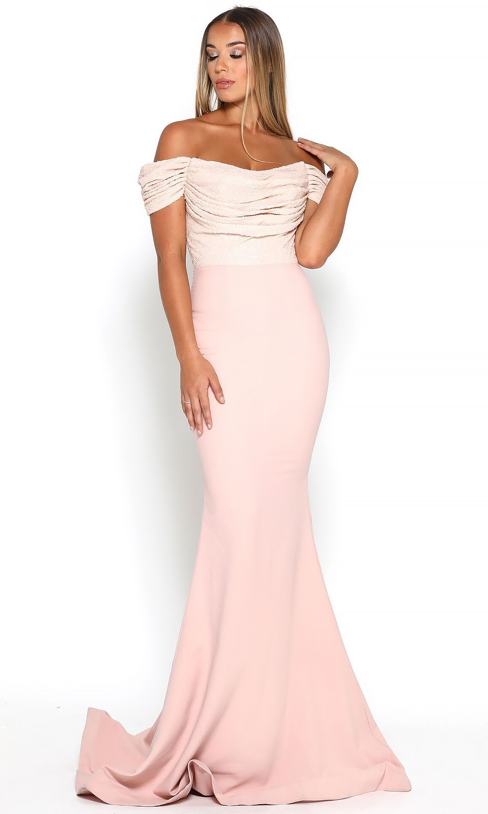 Portia and Scarlett - Mermaid Gown Sequin-Draped Off Shoulder Gown In Pink