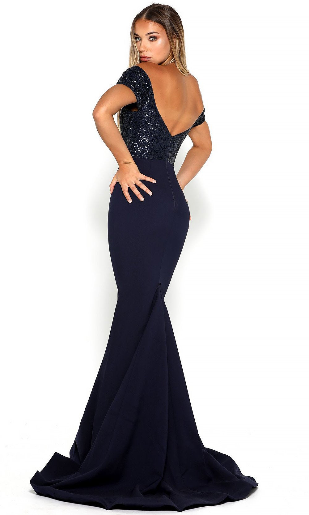 Portia and Scarlett - Mermaid Gown Sequin-Draped Off Shoulder Gown In Blue