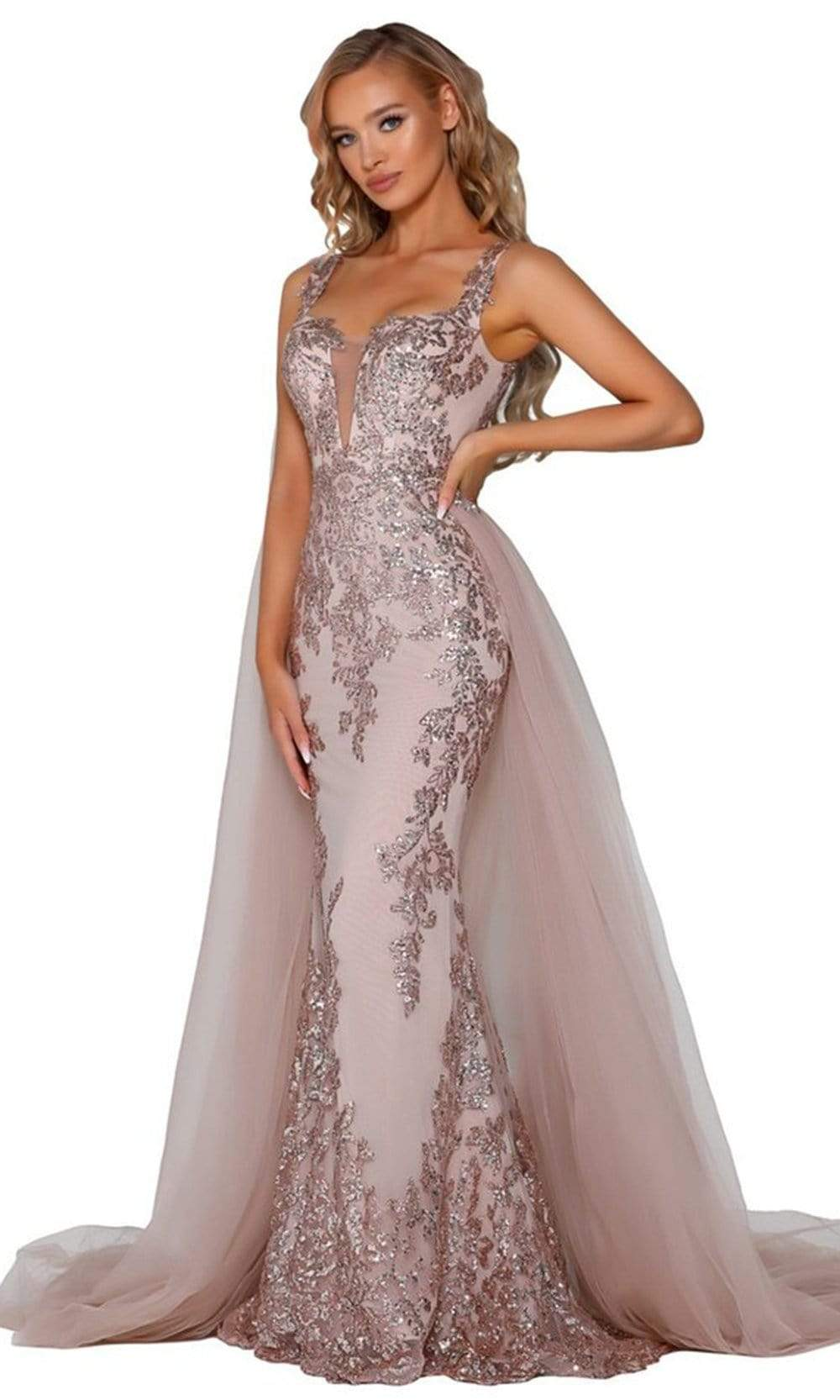 Portia and Scarlett - PS5011 Sequin Embroidery Drape Cape Evening Gown Prom Dresses 0 / Rose Gold