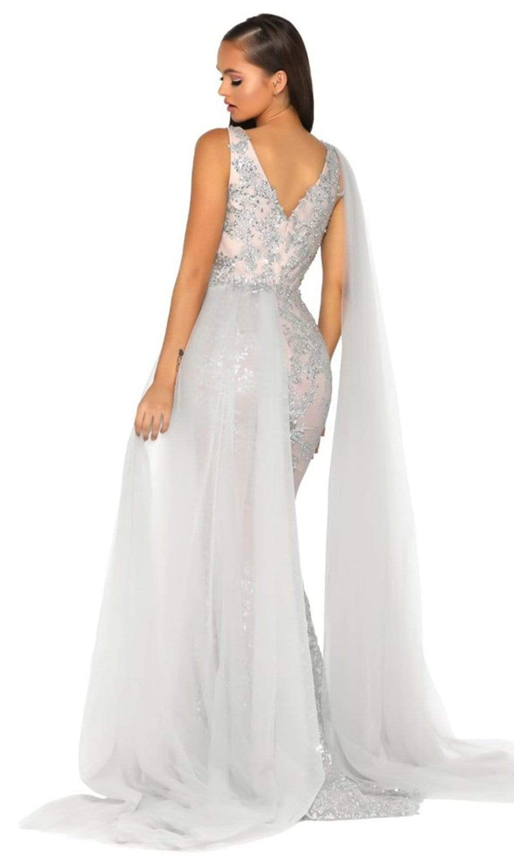 Portia and Scarlett - PS5011 Sequin Embroidery Drape Cape Evening Gown Prom Dresses