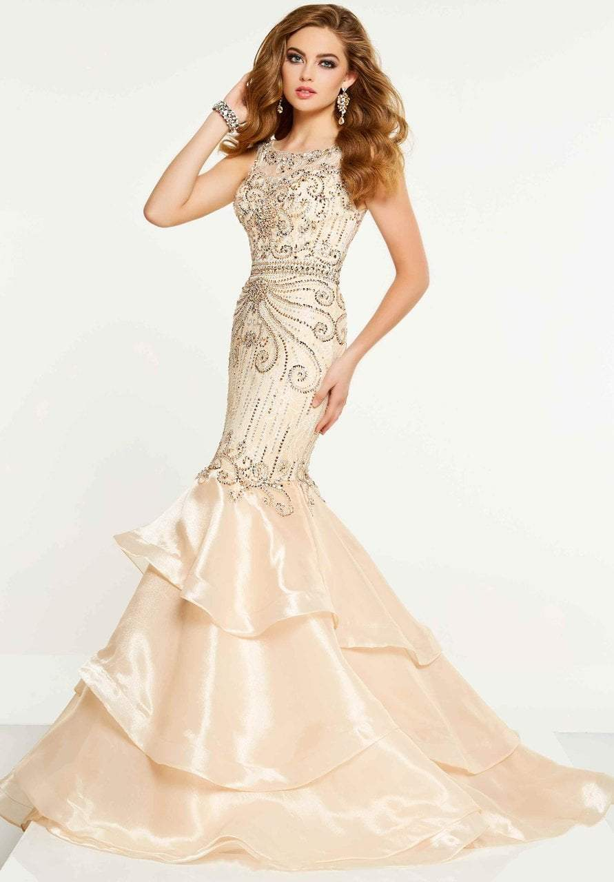 Panoply - 14862 Three Tiered Fitted Mermaid Gown In Neutral