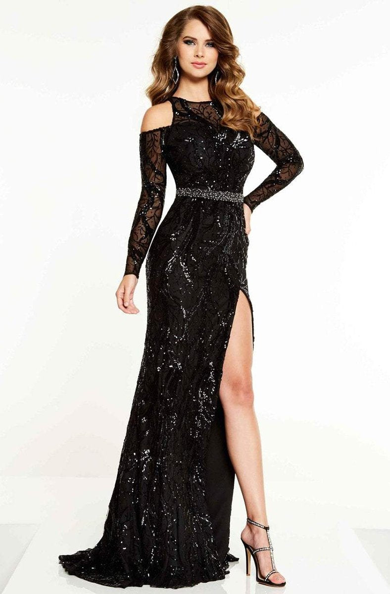 Panoply - 14868 Cold Shoulder Long Sleeve Sequined Gown In Black