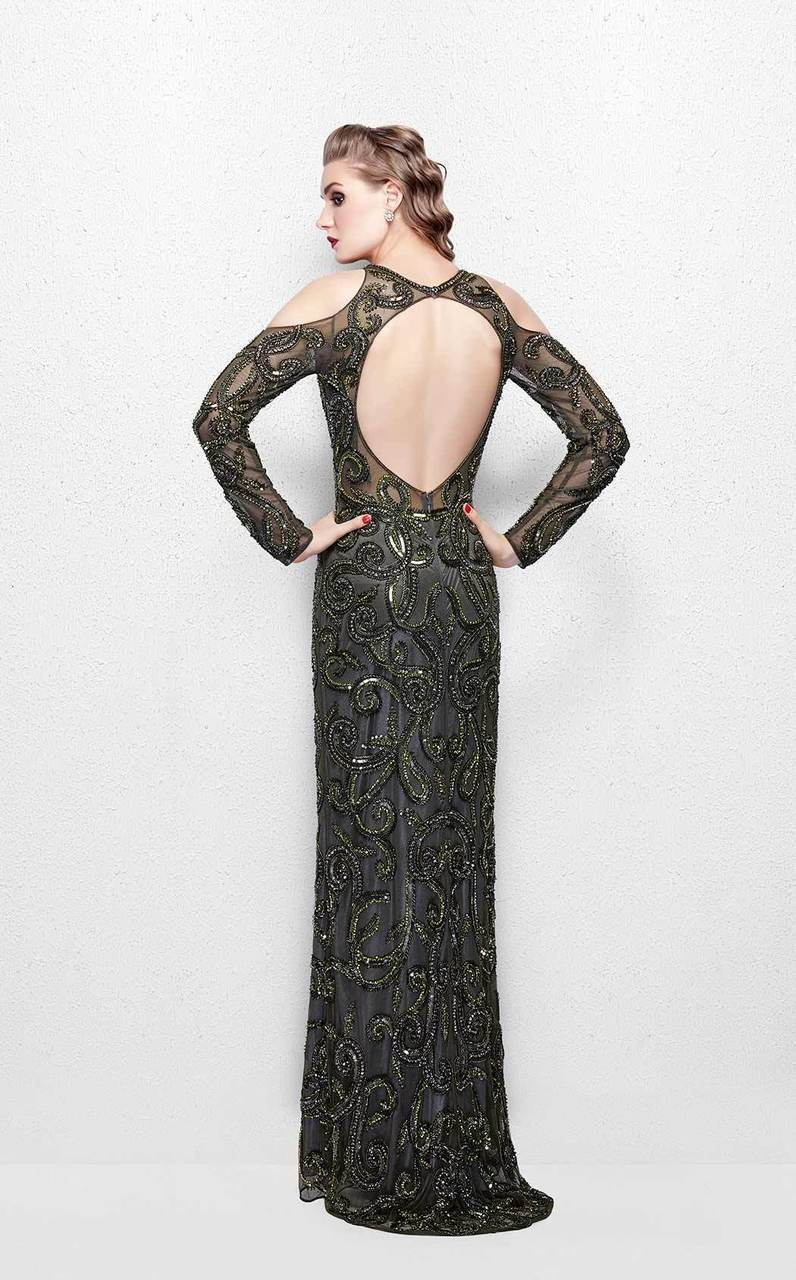 Primavera Couture - 3081 Beaded Long Sleeve Fitted Dress In Green