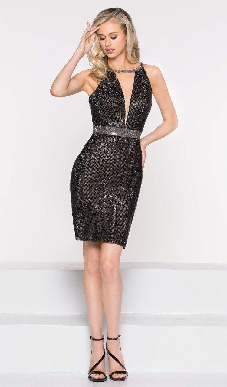 Colors Dress - 2026 Metallic Halter Fitted Cocktail Dress in Black