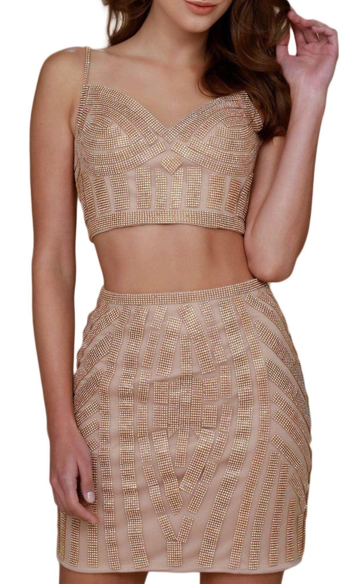 Nox Anabel - Beaded Two Piece Fitted Dress R650SC