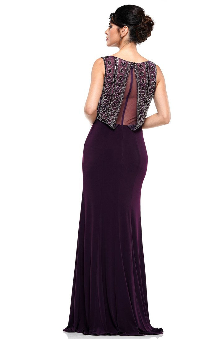 Rina Di Montella - Embellished Bateau Fitted Dress RD2609 In Purple