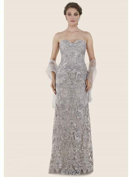 Rina di Montella - RD2624-1 Lace Embroidered Sweetheart A-line Gown Special Occasion Dress 20 / Platinum