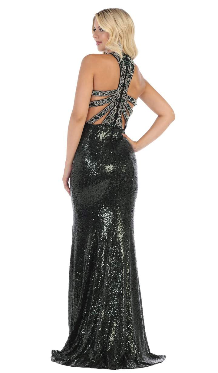 May Queen - RQ7656SC Sleeveless Fitted High Slit Full Sequined Gown