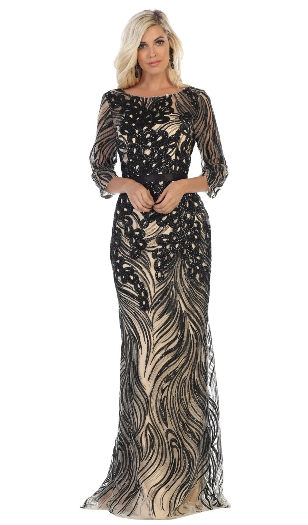 May Queen - Embellished Bateau Sheath Evening Dress RQ7686 In Black and Neutral