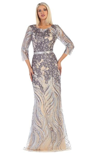 May Queen - Sheer Quarter Sleeve Fully Adored Evening Dress RQ7686