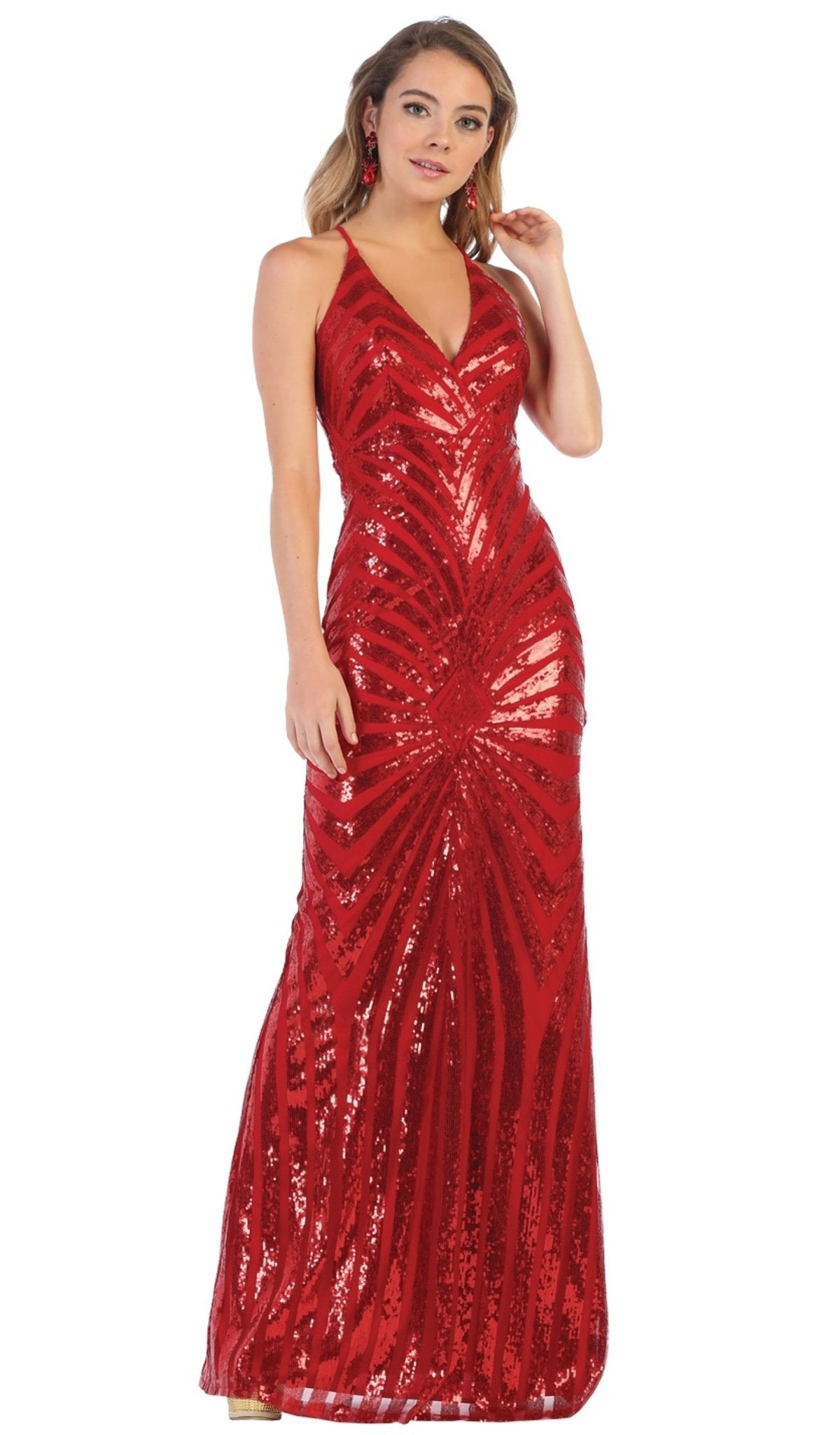 May Queen - RQ7695 Embellished Plunging V-neck Sheath Dress In Red