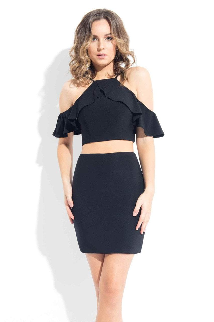 Rachel Allan LBD - L1089 Two-Piece Ruffled Halter Cocktail Dress in Black