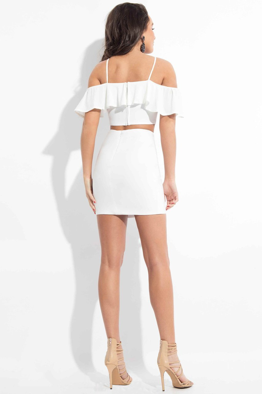 Rachel Allan LBD - L1089 Two-Piece Ruffled Halter Cocktail Dress in White