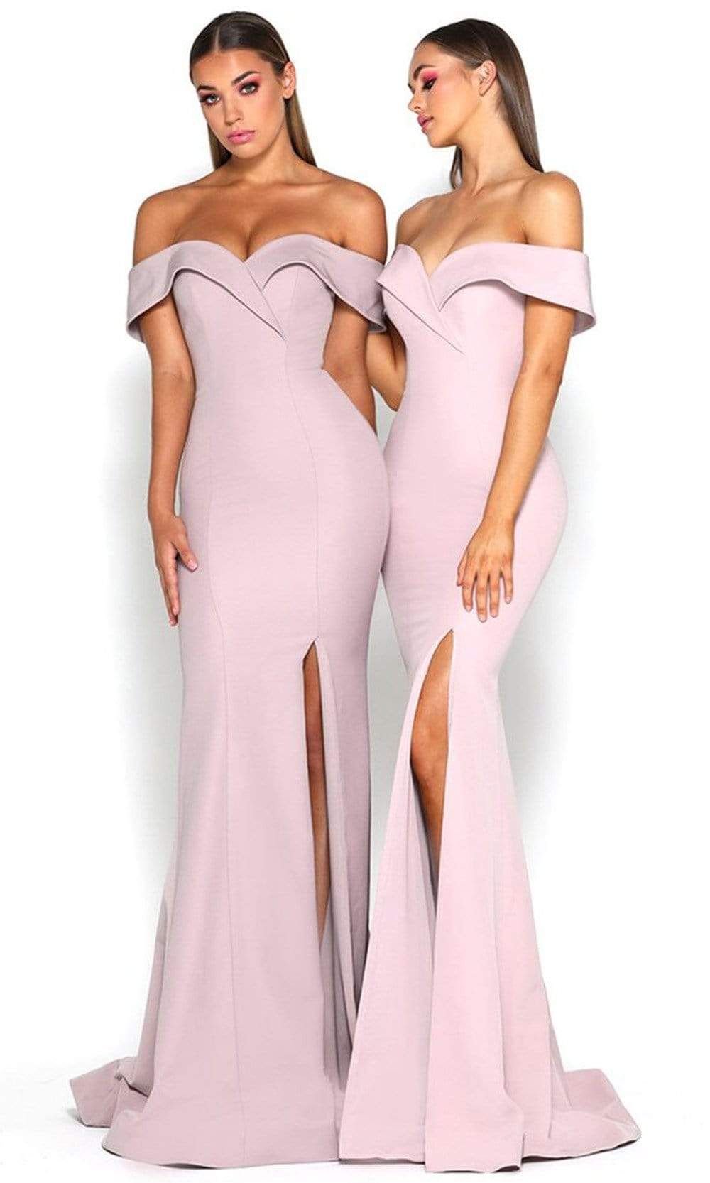 Portia and Scarlett - Rebecca Gown Off Shoulder High Slit Trumpet Gown Bridesmaid Dresses