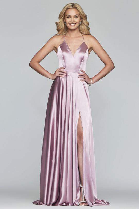 Faviana - S10209 Lace Up Back Satin V Neck Dress in Pink