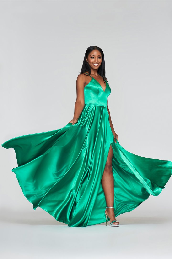 Faviana - Lace Up Back Satin High Slit Dress S10209 In Green