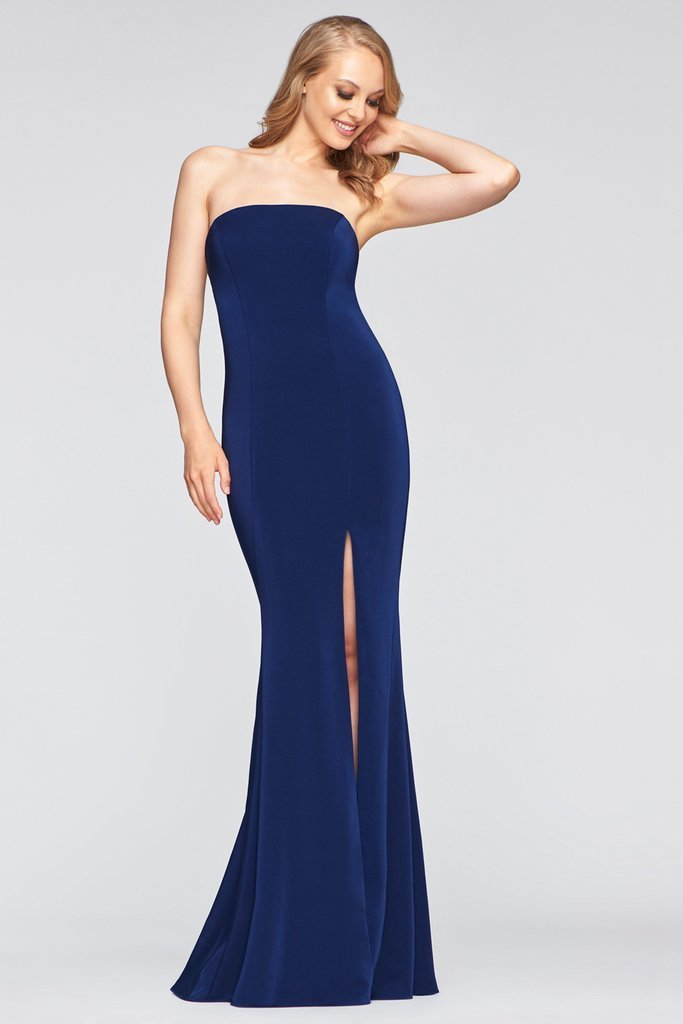 Faviana - Strapless Straight-Across High Slit Long Dress S10437 In Blue