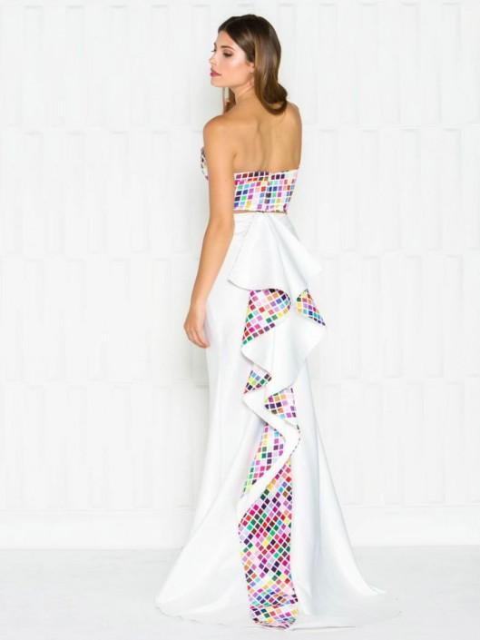 Colors Dress - 1716 Colorful Print Two-Piece Evening Gown in White