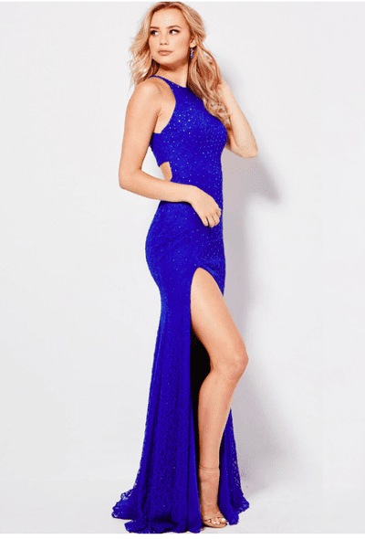 Jovani - 46850 Beaded Halter Lace Evening Gown in Blue