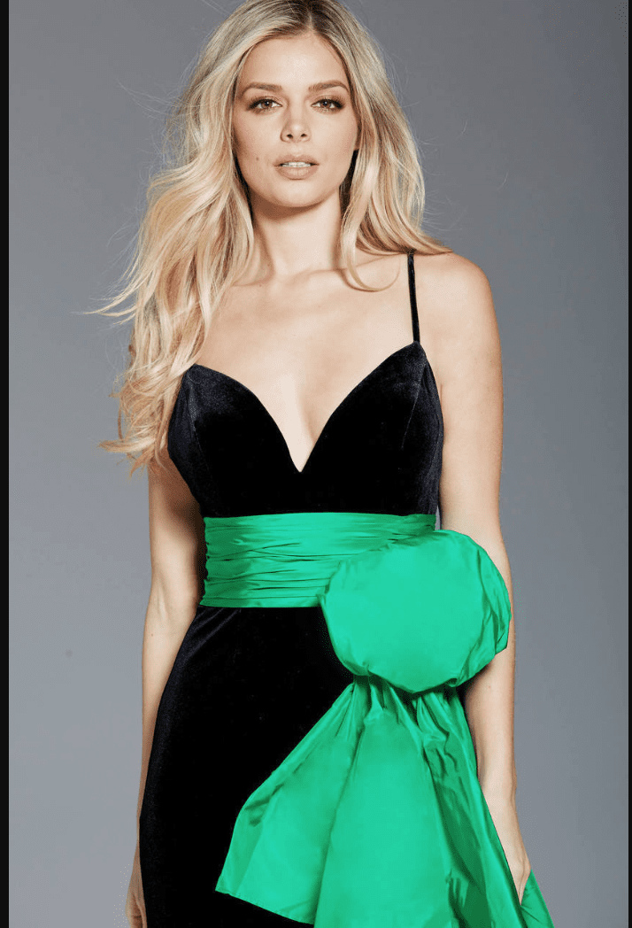Jovani - 60319 Ruffled Sash Accented High Slit Velvet Gown In Green And Black