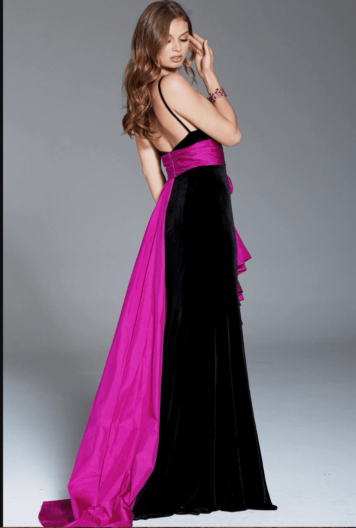 Jovani - 60319 Ruffled Sash Accented High Slit Velvet Gown In Pink And Black