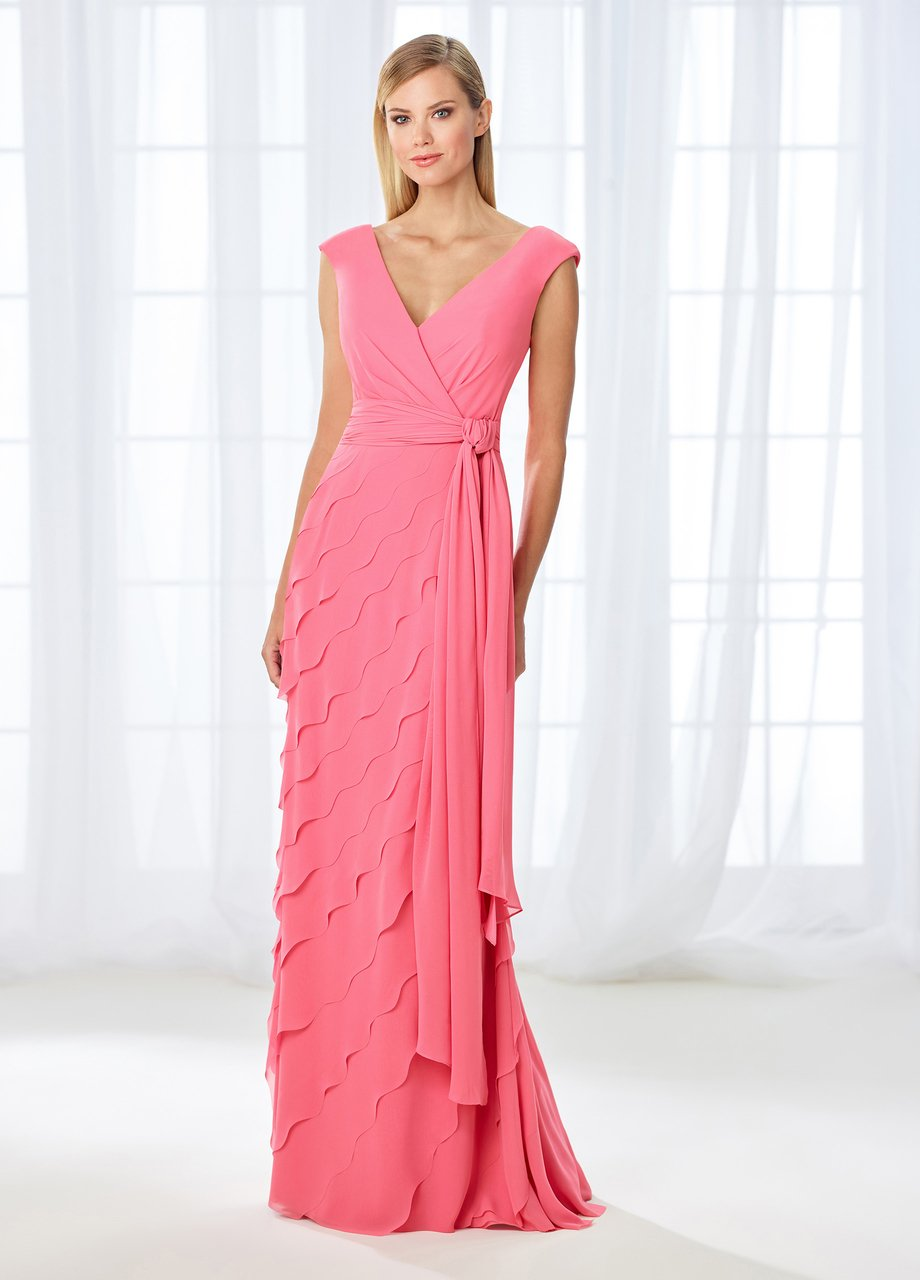 Cameron Blake - 118668 Cap Sleeve Wrap Tie Scalloped Evening Gown In Orange