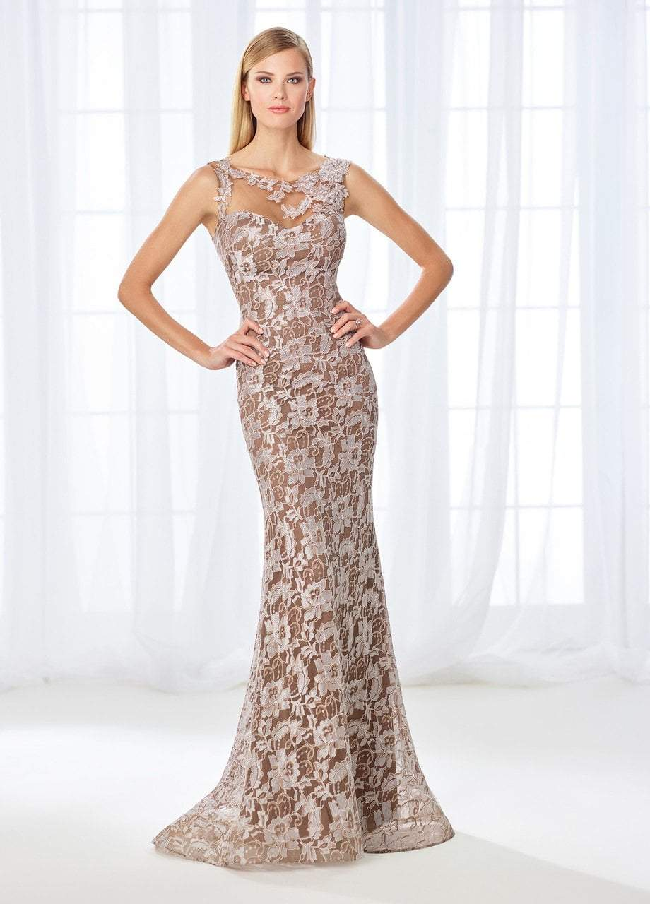 Illusion Lace Bateau Evening Dress 118671 in Brown and Silver