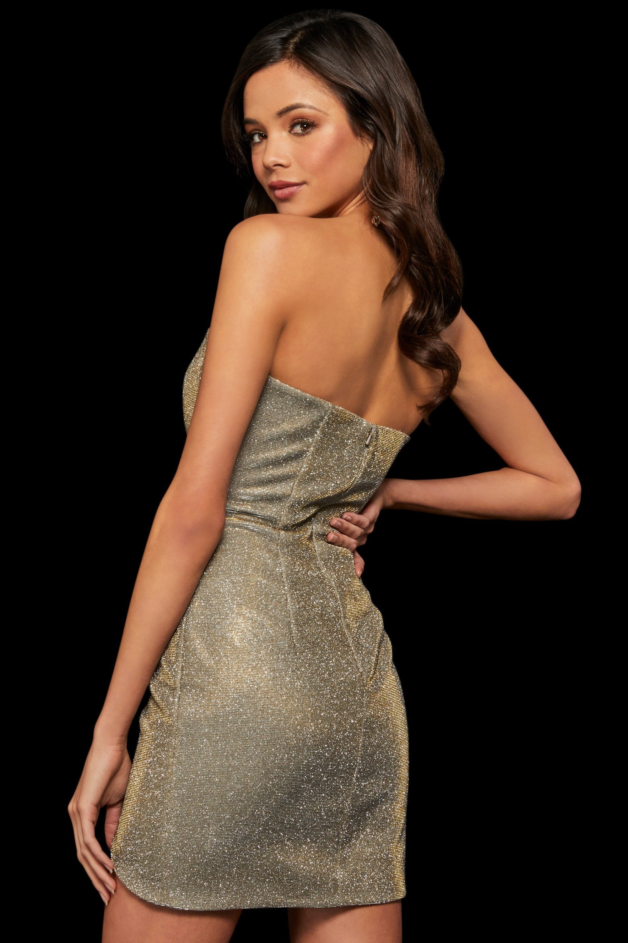 Sherri Hill - Strapless Glitter Fabric Short Sheath Dress 52948 In Gold