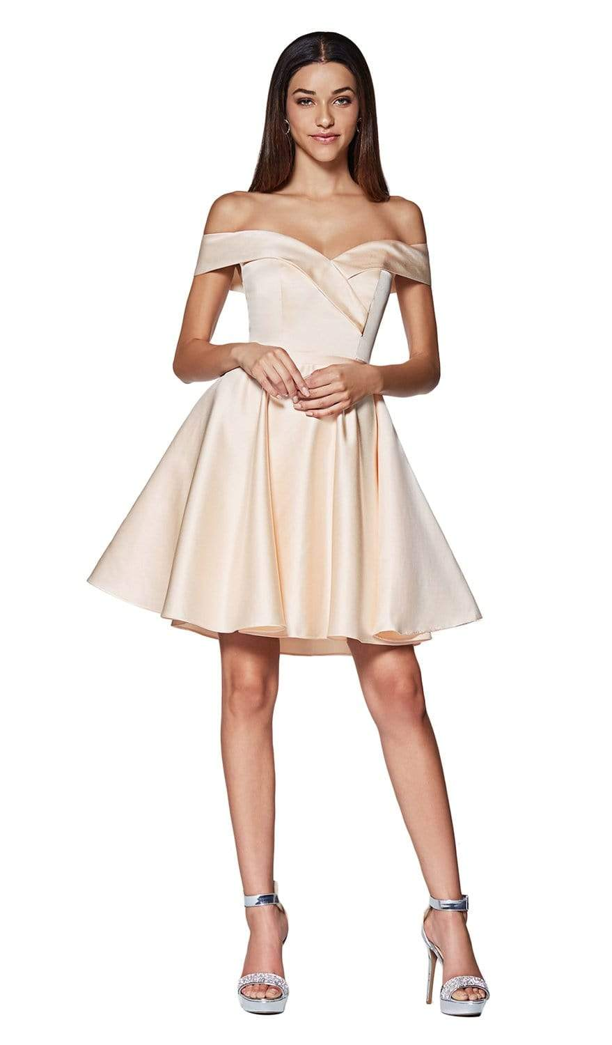 Cinderella Divine - CD0140 Off Shoulder Satin A-Line Dress In Neutral and Yellow