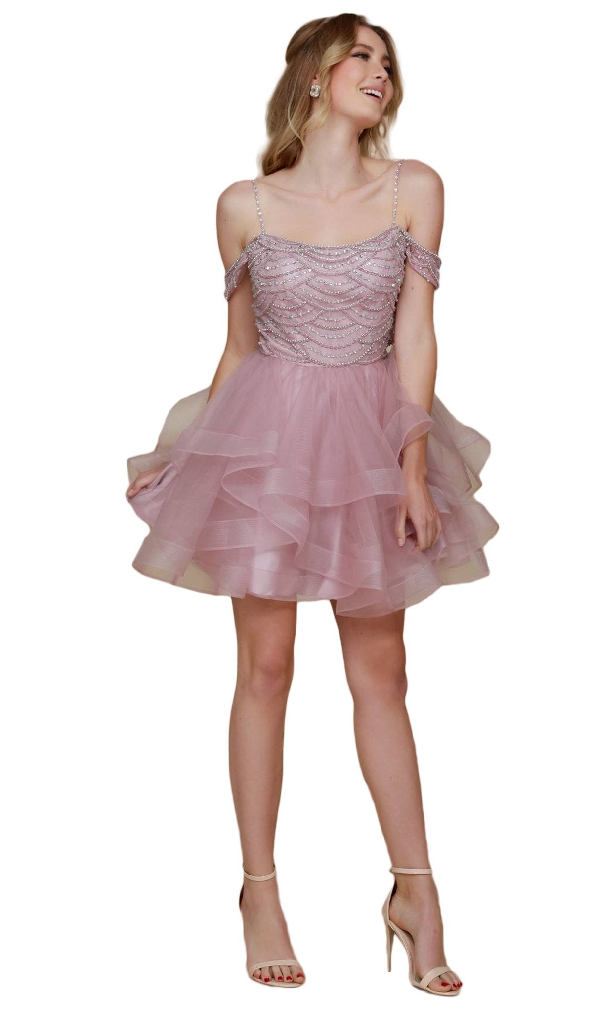 Nox Anabel - Beaded Tiered A-Line Dress T668SC