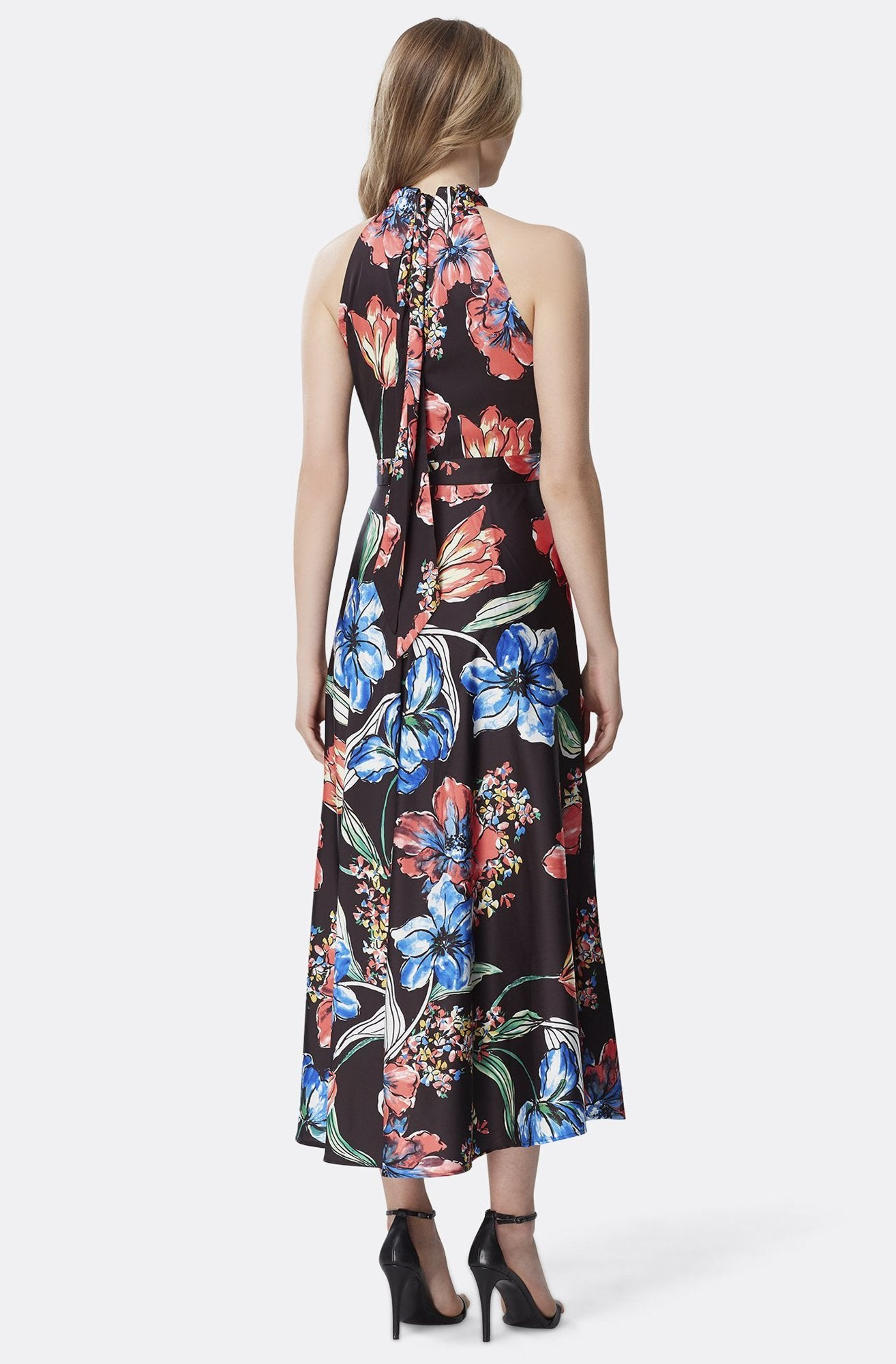 Tahari Asl - TLMU9WD624 Floral Print High Halter A-line Dress In Multi-Color