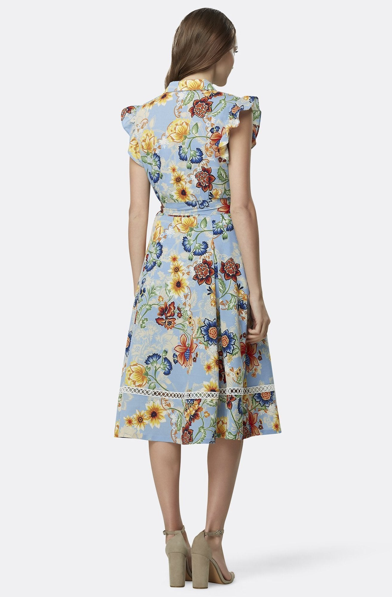 Tahari Asl - TLMU9WD640 Floral Print Collared A-line Dress In Multi-Color