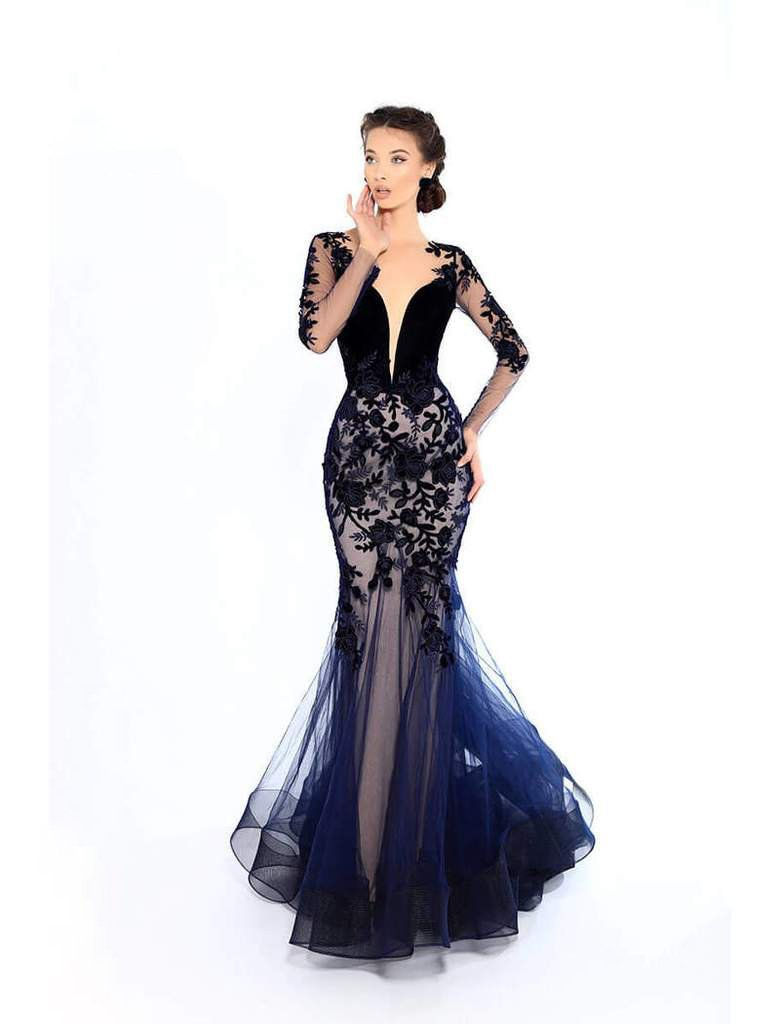 Tarik Ediz - 93656SC Plunging Neck Sheer Sleeve Floral Mermaid Gown