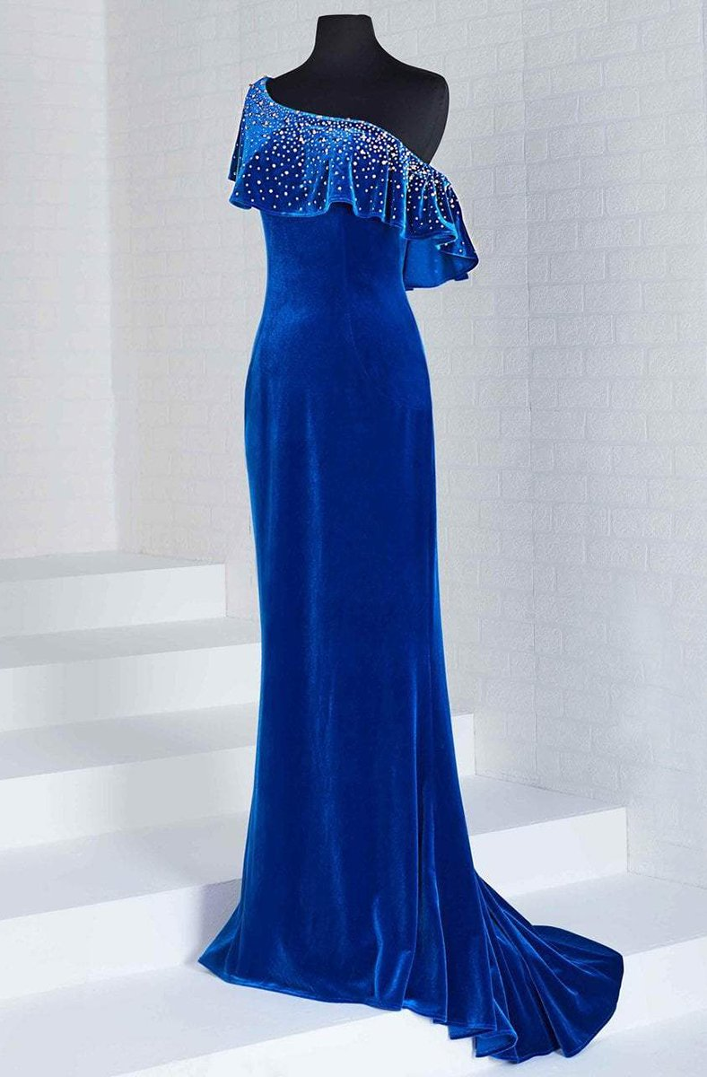 Tiffany Homecoming - 46125 Embellished Asymmetric Velvet Trumpet Dress In Blue