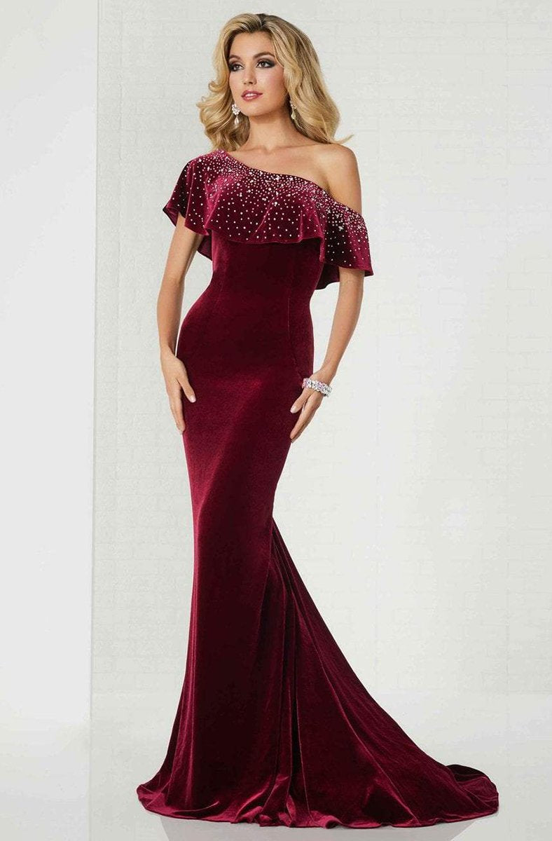 Tiffany Homecoming - 46125 Embellished Asymmetric Velvet Trumpet Dress In Red