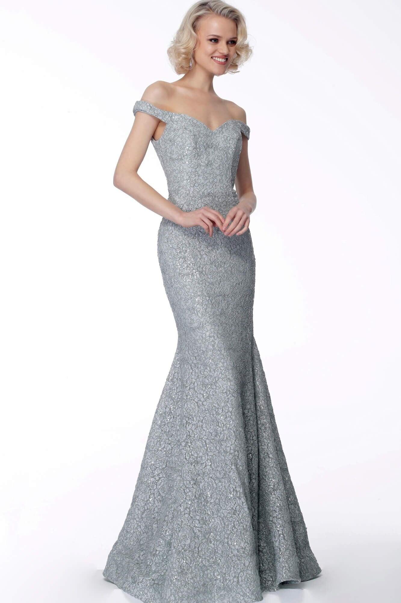 Jovani - 65156 Off-Shoulder Embellished Mermaid Gown In Gray