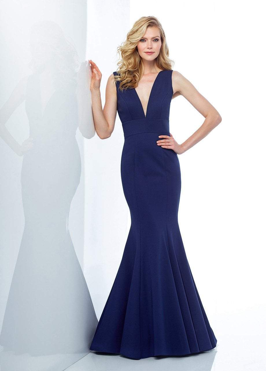 Social Occasions by Mon Cheri - 118877 Plunging Jersey Trumpet Gown In Blue